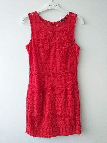 sukienka koronkowa czerwona cropp M jak nowa