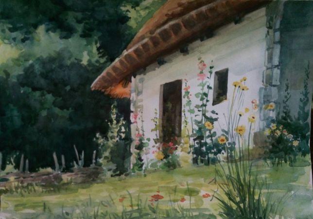 Картина Акварель - Украинская хата - художник Оксана Шашкова