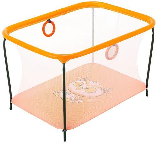Манеж игровой KinderBox люкс с мелкой сеткой Оранжевый сова.
