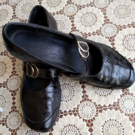 Туфли черные, кожа + лак