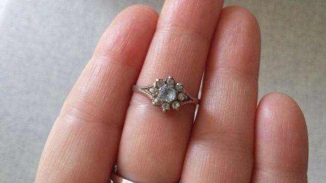 Biżuteria PRL - pierścionek WARMET z cyrkoniami BŁĘKIT #2 - rozmiar 17