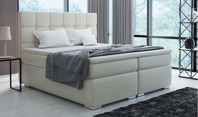 Łóżko kontynentalne z materacami i pojemnikami BOXSPRING wym 160x200