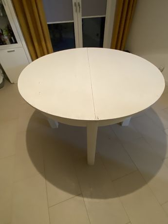 Stół drewniany biały ogrągły rozkładany PRL