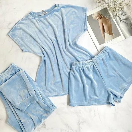 Плюшевая женская пижама тройка, комплект, подарок девушке, піжама