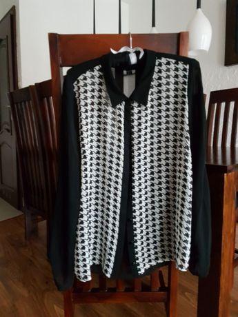 bluzka koszula, Zara, wzór kurza stopka, L