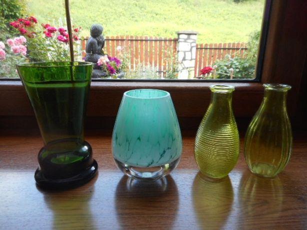 Zielony niebieski żółty wazon wazonik świecznik szkło zdobione barwion