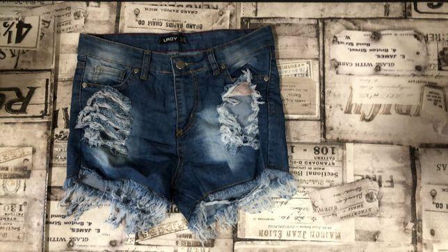 Новые джинсовые шорты подросток для девочки с 42р высокая посадка
