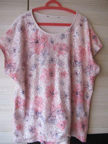 bluzka cekiny 54 biust 134 biodra 150 elegancka rozciągliwa lato