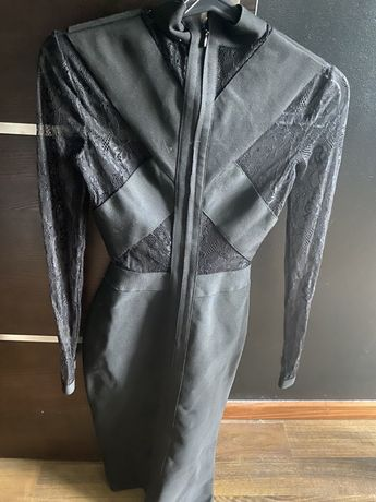 Sukienka czarna bandazowa koronka xs