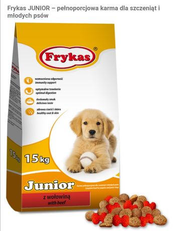 Karma dla psów FRYKAS 15 kg, 10kg, 5kg, 3kg, 2kg, 500g, różne smaki