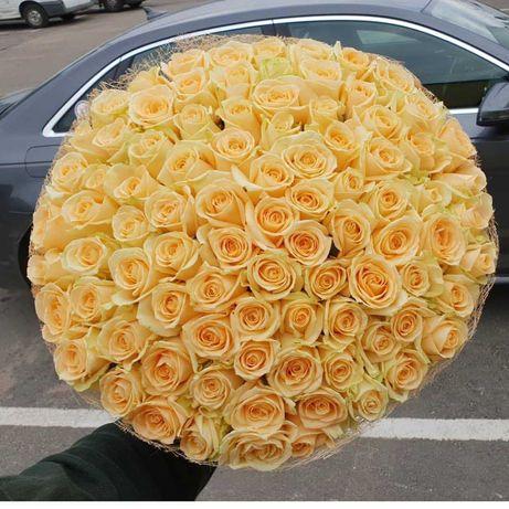 Шикарный букет 101 роза! Розы, доставка цветов. Подарок любимой
