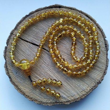 Mala Buddyjska z bursztynu, cytryna, 108 kulek