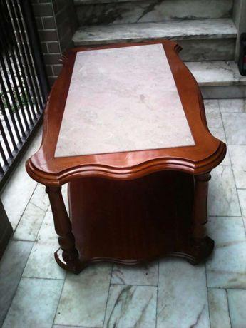 Mesa de sala em madeira mogno e pedra mármore