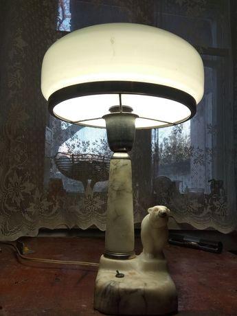 Мраморная настольная лампа 1950-х годов, сталинка.