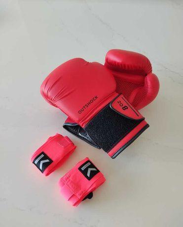 Luvas e Ligaduras de Boxe OutShock, Principiante, Vermelho, Tamanho 8