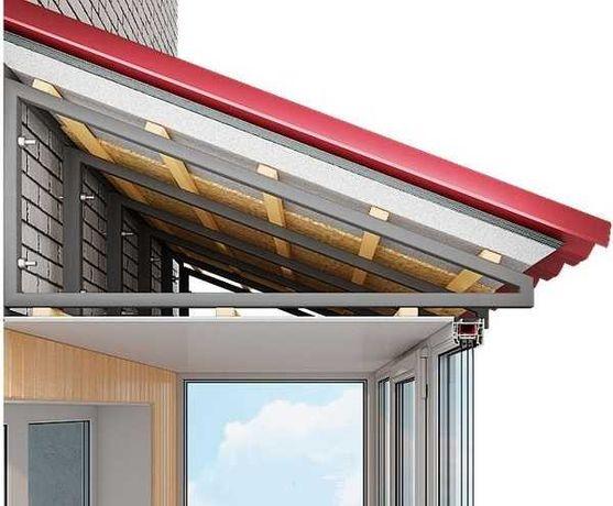 Скатная крыша на бетонный козырек