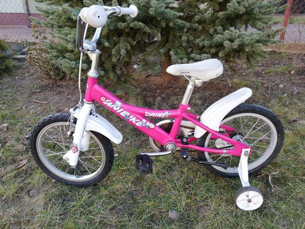 Rowerek dla dziewczynki koła 16 cali z kółkami bocznymi