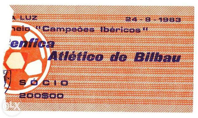 Bilhete Futebol - Benfica Atlético Bilbau - 1983