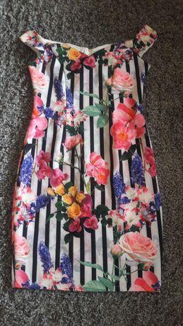 Sukienka ala hiszpanka roz 40 kwiaty wesele