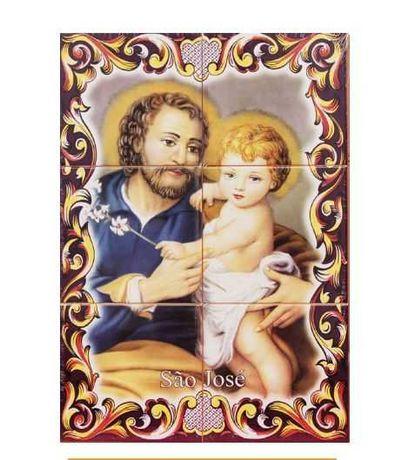 Painéis de Azulejos SÃO JOSÉ Cores Imagem Gravura Lírios Jesus colo S.