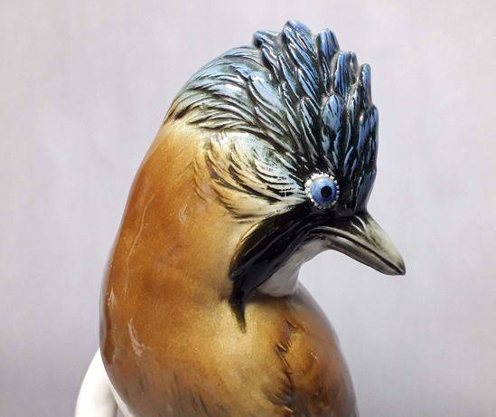 Barwny ptak, figurka Karl Ens Volkstedt, poł. XX w.