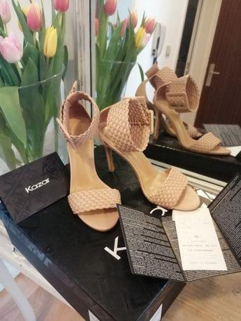 Sandały szpilki Kazar 37 nude
