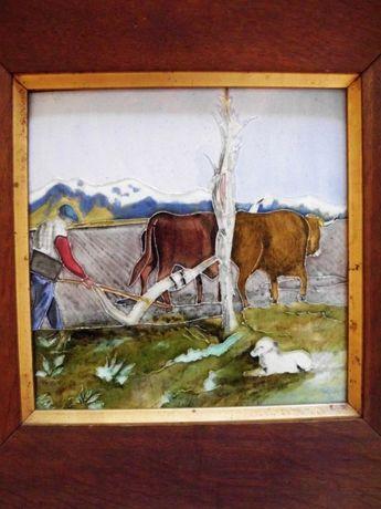 linda paisagem rural-grande azulejo vidrado em alto relevo-vintage