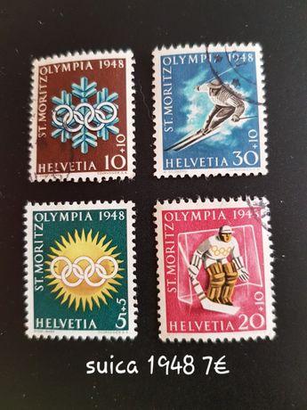 Selos Suíça 1948 Jogos Olimpicos