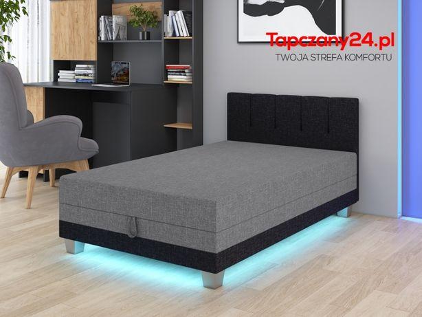 Łóżko młodzieżowe jednoosobowe 90cm Tapczan Led do sypialni+ pojemnik