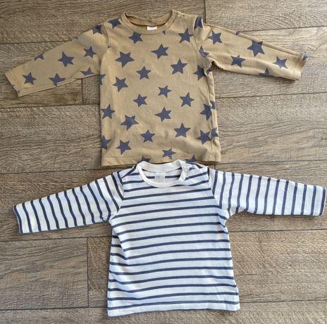 2 szt koszulki H&M brąz/beż 74
