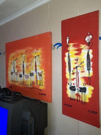 """Quadros decorativos - motivos africanos """"Picasso - C.Verde"""""""
