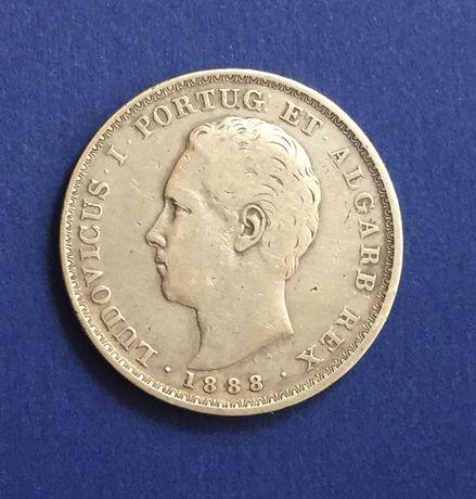 500 réis 1888 - D. Luiz I - prata - PORTES GRÁTIS