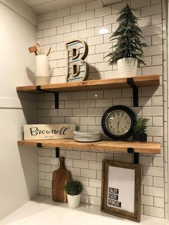 Полка на стену навесная полочка для книг книжная дерево декор