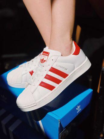 Кроссовки белые с красным Adidas Superstar White Адідас Суперстар