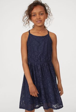 Sukienka granatowa elegancka koronkowa H&M wesele 146/152 cm