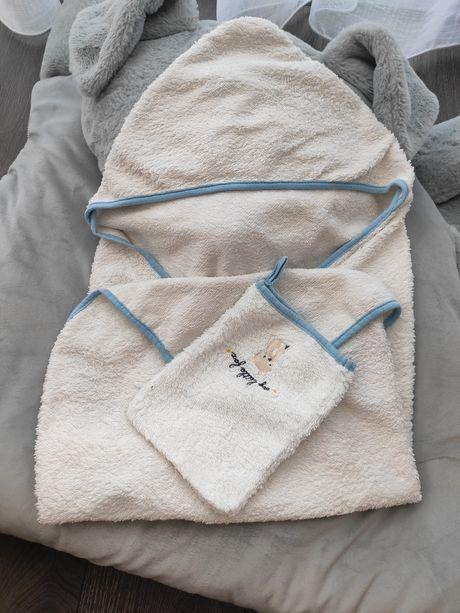 Конверт полотенце с капюшоном для новорожденных мальчика белое