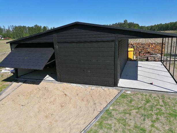 Garaż 6x6 plus wiata 2,5m w kolorze czarny mat, garaż blaszany