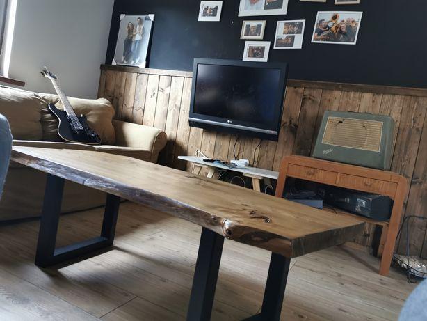 Stolik loft, drewno i stal, monolit