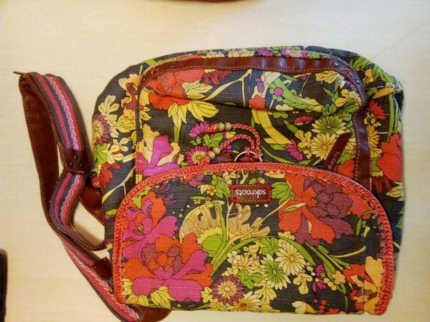 Американская сумка-рюкзак с кожаными вставками