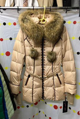 Куртка пуховик, 100% пух,люкс качества, натуральный мех, XS-S   Размер