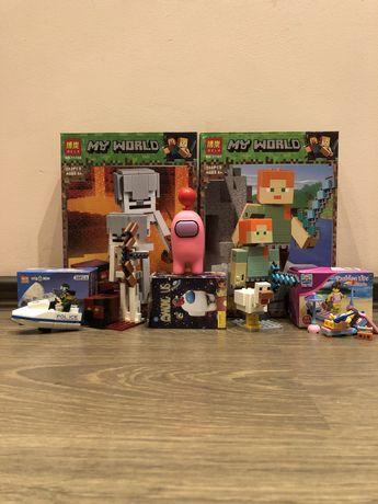 Лего Minecraft, пляж, полиция, фигурка амонг ас