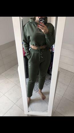 Komplet M L 38 40 dres zestaw bluza spodnie dresowe khaki zielone wow