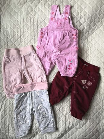 Spodnie zimowe ocieplane dla dziewczynki 62-68