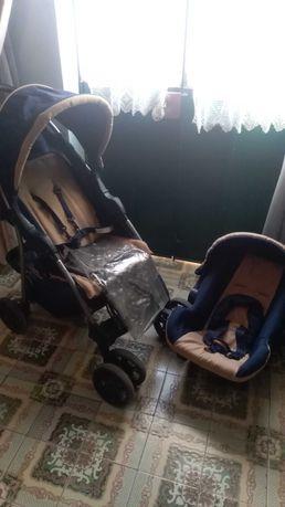 Carrinho de bebé com ovo, tabuleiro e capa protetora de chuva
