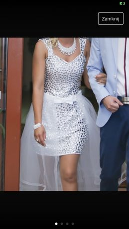 Sukienka biała mini tiul kokardka kamyki doszyte