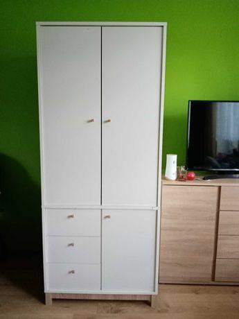 Szafa biała z drążkiem, półkami i szufladami