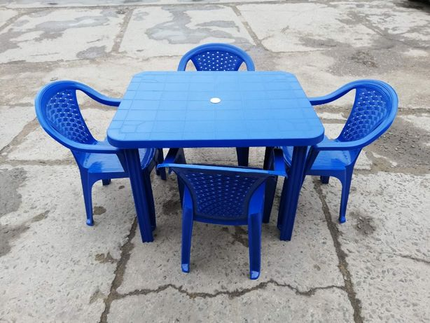 Комплект мебели Стол + 4 кресла синий