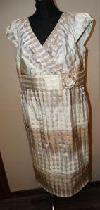 Poza Collection Elegancka kremowo-beżowa sukienka 46