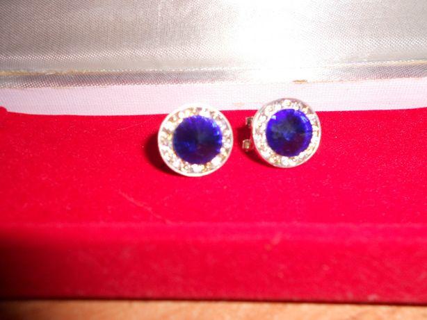 серьги с синими камнями метал серебристый