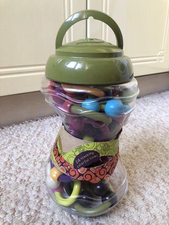Игровой набор Battat – Разноцветные колечки (24 колечка, в банке, олив